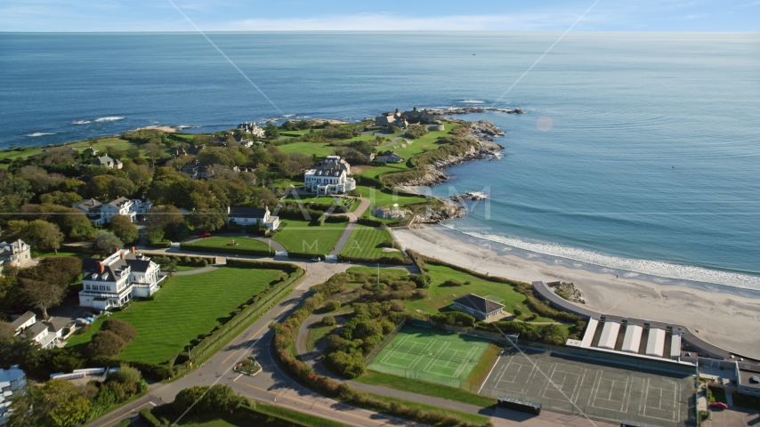 Oceanfront mansions in the coastal city of Newport, Rhode Island Aerial Stock Photos | AX144_248.0000229