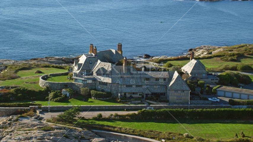 An oceanfront mansion in Newport, Rhode Island Aerial Stock Photos | AX144_251.0000000