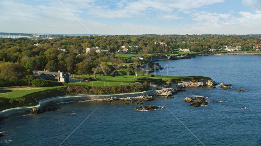 Oceanfront mansions with green lawns, Newport, Rhode Island Aerial Stock Photos | AX144_254.0000000