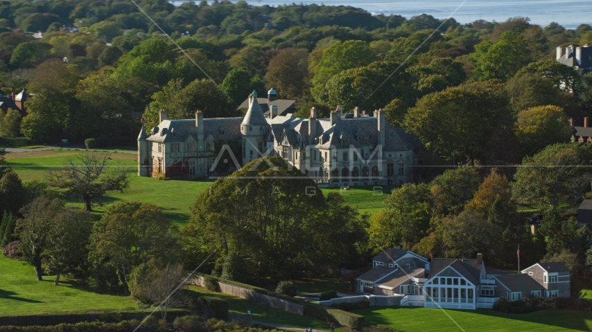Carey Mansion, also known as Seaview Terrace, in Newport, Rhode Island Aerial Stock Photos | AX144_256.0000164