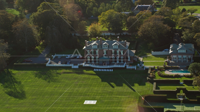 An estate with green lawns in Newport, Rhode Island Aerial Stock Photos | AX144_259.0000033