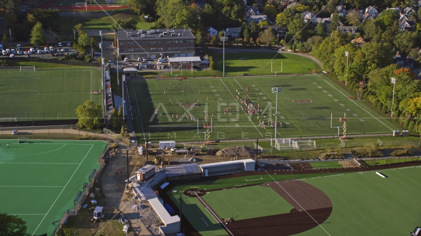 Football practice on a field at Brown University, Providence, Rhode Island Aerial Stock Photos   AX145_064.0000179