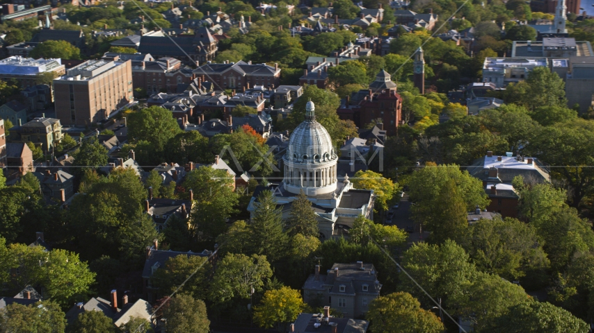 The First Church of Christ Scientist and trees, Providence, Rhode Island Aerial Stock Photos | AX145_068.0000000