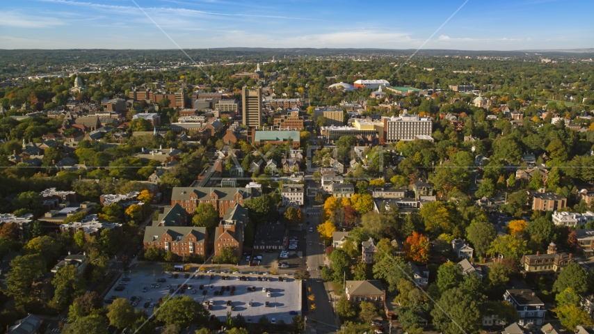 Brown University with colorful trees in Providence, Rhode Island Aerial Stock Photo AX145_070.0000251   Axiom Images