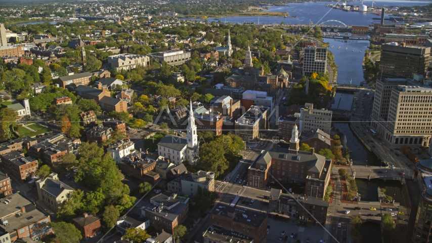 The First Baptist Church in America and Rhode Island Supreme Court in Providence, Rhode Island Aerial Stock Photos | AX145_077.0000097