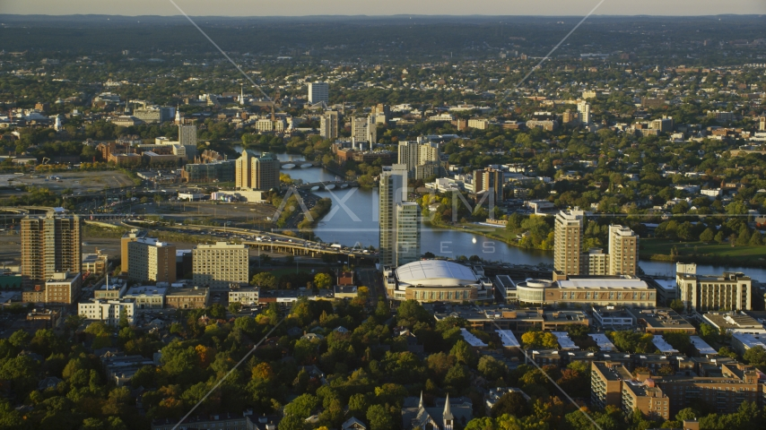 Agganis Arena, apartments, and the Charles River, Boston, Massachusetts, sunset Aerial Stock Photos | AX146_014.0000053F