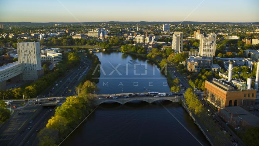 The Charles River near Harvard University, Massachusetts, sunset Aerial Stock Photos | AX146_018.0000179F