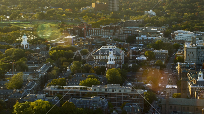A view of Harvard University buildings at sunset in Cambridge, Massachusetts Aerial Stock Photos | AX146_026.0000281F