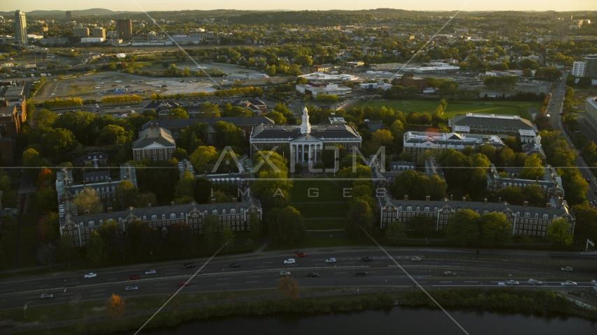 The Harvard Business School at Harvard University, Massachusetts, sunset Aerial Stock Photos | AX146_038.0000319F