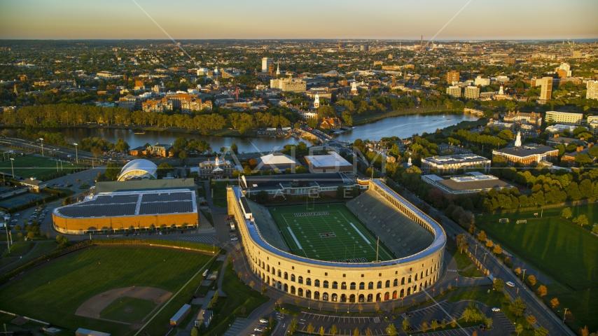 Harvard Stadium at Harvard University, Massachusetts, sunset Aerial Stock Photos | AX146_041.0000245F