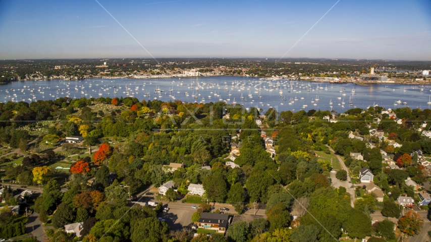 Coastal community in autumn near boat filled harbor, Salem, Massachusetts Aerial Stock Photos | AX147_033.0000000
