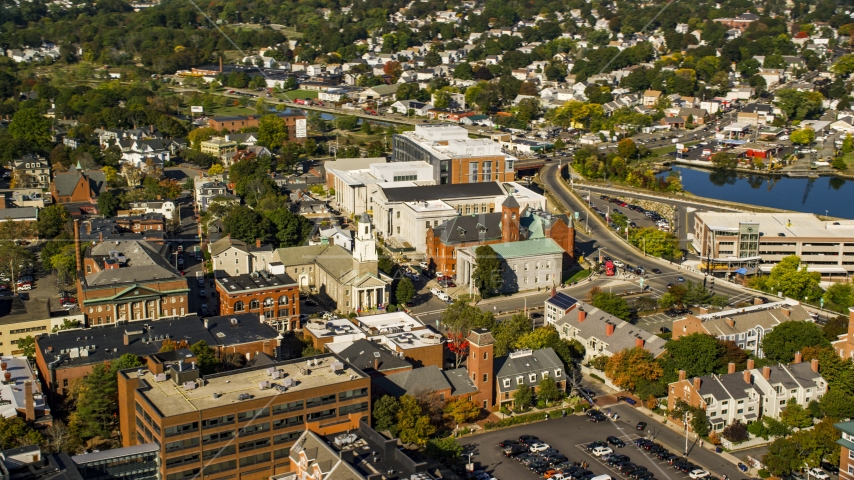 The Tabernacle Church and local businesses in autumn, Salem, Massachusetts Aerial Stock Photos | AX147_042.0000151
