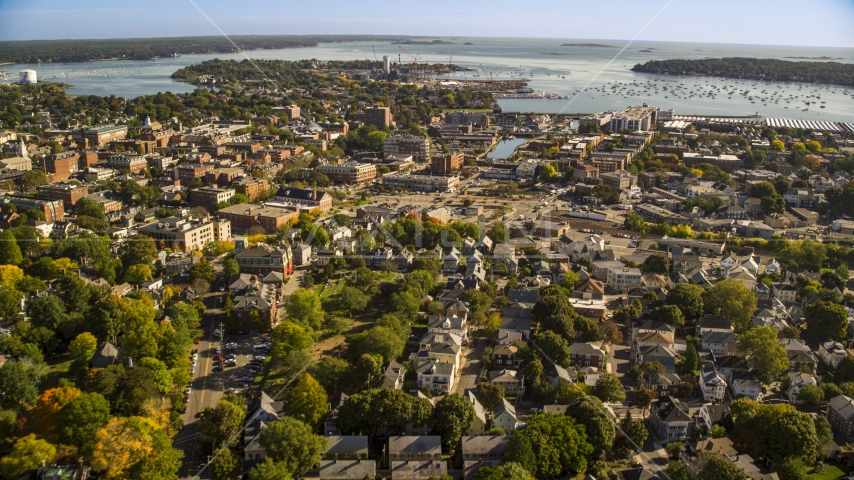 Coastal town with a view of the harbor, Salem, Massachusetts Aerial Stock Photos   AX147_048.0000000