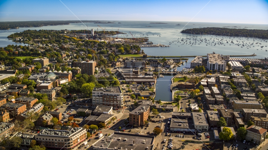 A coastal town beside a harbor, Salem, Massachusetts Aerial Stock Photo AX147_048.0000387 | Axiom Images