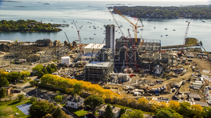 Construction at a natural gas power plant, Salem, Massachusetts Aerial Stock Photo AX147_051.0000020 | Axiom Images