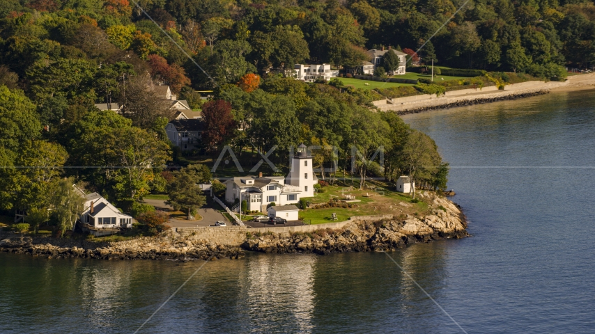 Hospital Point Light beside a cove, autumn, Beverly, Massachusetts Aerial Stock Photos | AX147_053.0000174