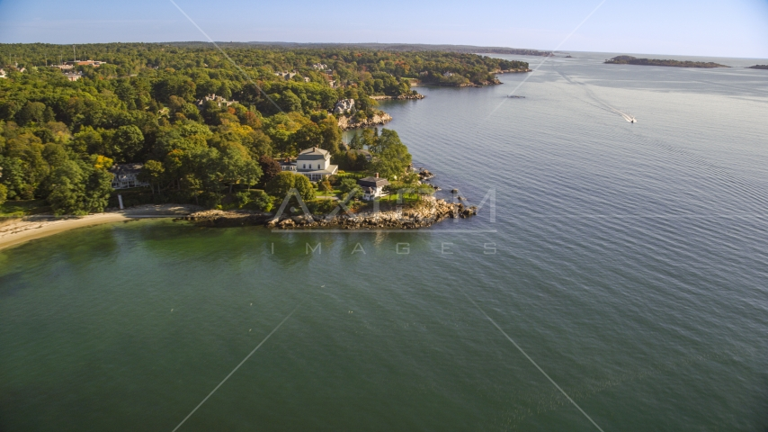 Oceanfront mansions in Beverly, Massachusetts Aerial Stock Photos | AX147_054.0000000