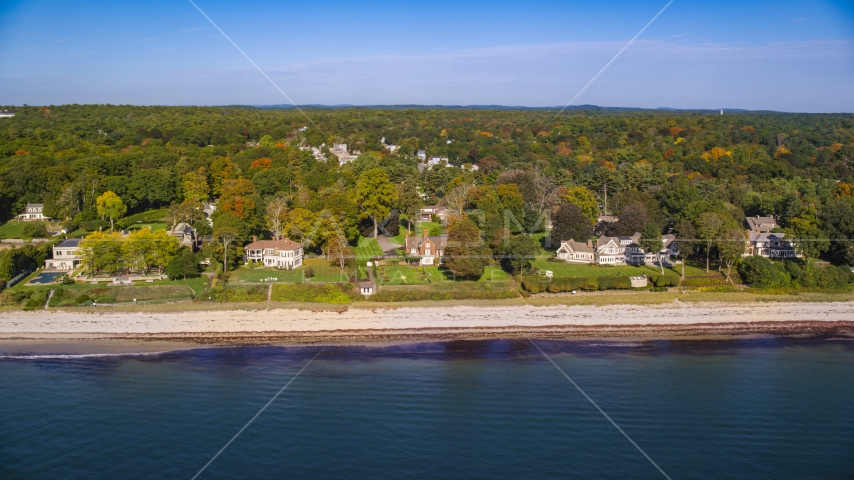 Beachfront mansions and fall foliage, autumn, Beverly, Massachusetts Aerial Stock Photos | AX147_058.0000143