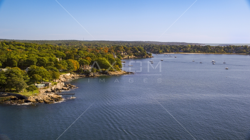 Oceanfront homes and fall foliage, Manchester-by-the-Sea, Massachusetts Aerial Stock Photo AX147_059.0000036 | Axiom Images