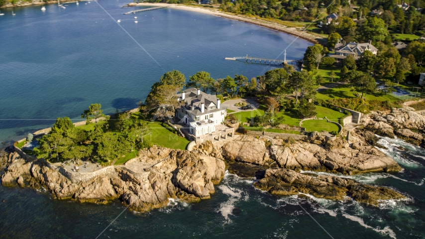 An oceanfront mansion by Lobster Cove, Manchester-by-the-Sea, Massachusetts Aerial Stock Photos | AX147_062.0000375