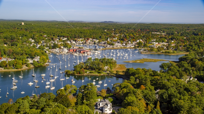Harbor with boats in autumn, Manchester-by-the-Sea, Massachusetts Aerial Stock Photos | AX147_067.0000000