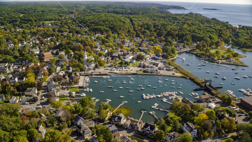 A coastal community and harbor, Manchester-by-the-Sea, Massachusetts Aerial Stock Photos | AX147_070.0000313