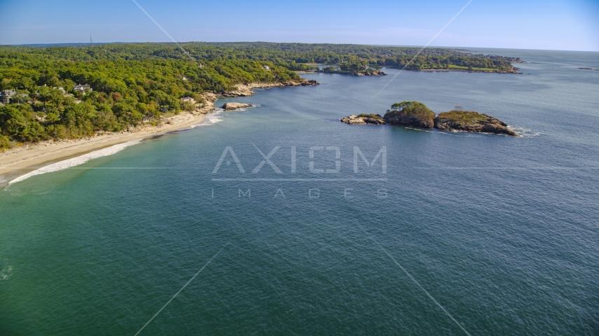 A beach near Graves Island, Manchester-by-the-Sea, Massachusetts Aerial Stock Photos | AX147_074.0000302