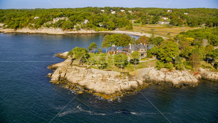 Waterfront mansion in Manchester-by-the-Sea, Massachusetts Aerial Stock Photos | AX147_077.0000131