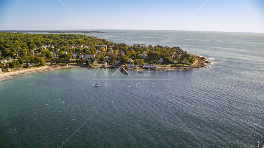 Oceanfront homes and rocky coast, Gloucester, Massachusetts Aerial Stock Photos | AX147_079.0000000