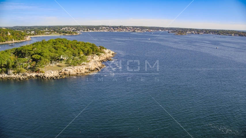 A coastal town at the end of Gloucester Harbor, Gloucester, Massachusetts Aerial Stock Photos | AX147_082.0000037