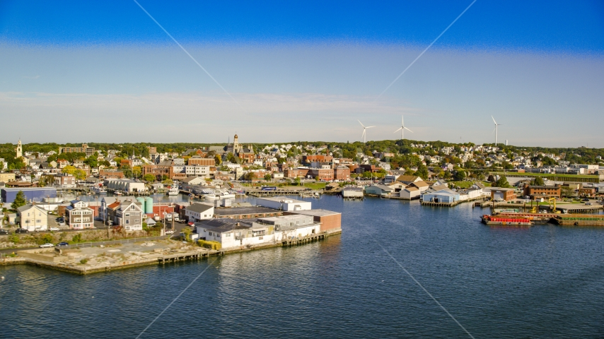A coastal town with small warehouse buildings, Gloucester, Massachusetts Aerial Stock Photos | AX147_087.0000192