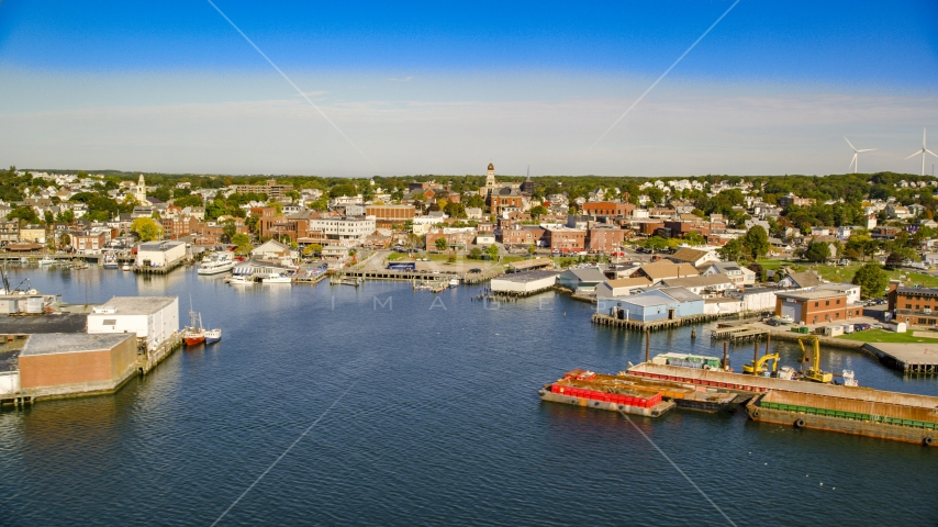 Coastal town, small warehouse buildings on the shore, Gloucester, Massachusetts Aerial Stock Photos | AX147_087.0000376