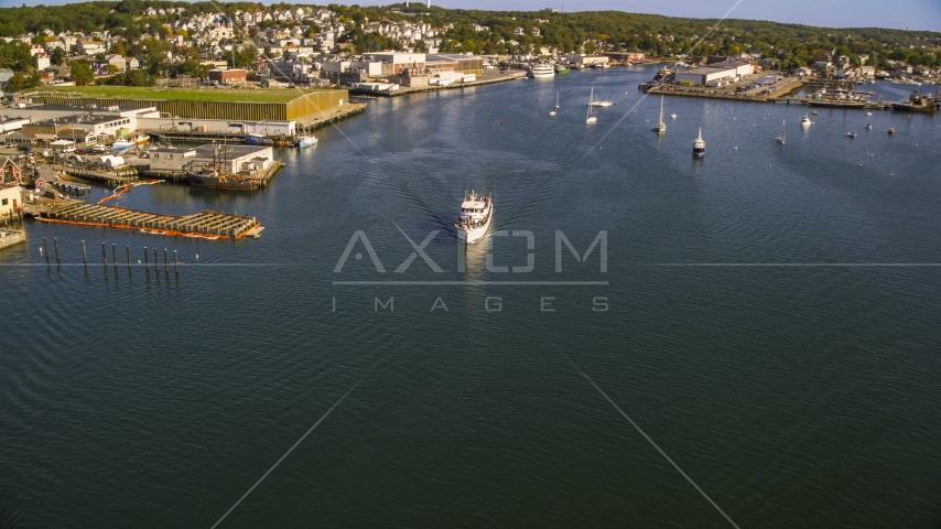 A ferry by a small coastal town, Gloucester, Massachusetts Aerial Stock Photos | AX147_088.0000030