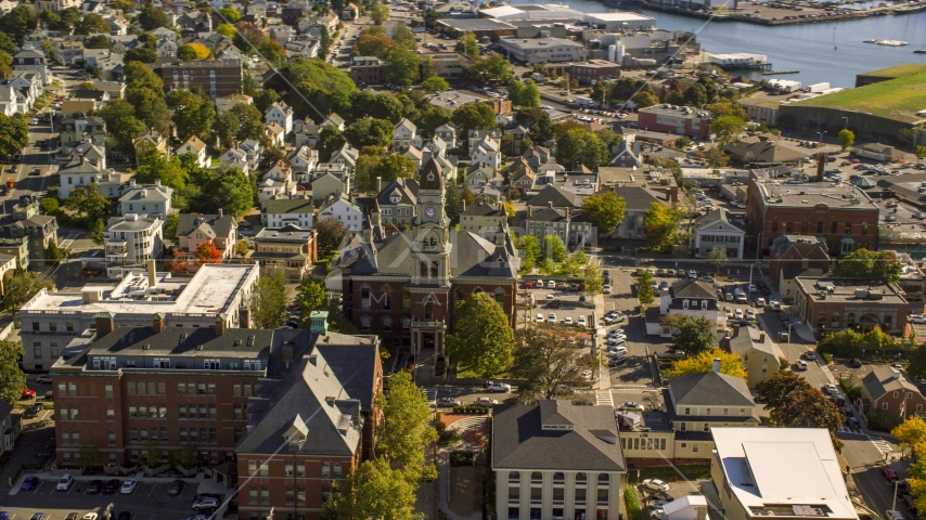 Gloucester City Hall in a small coastal town, Gloucester, Massachusetts Aerial Stock Photos | AX147_100.0000163