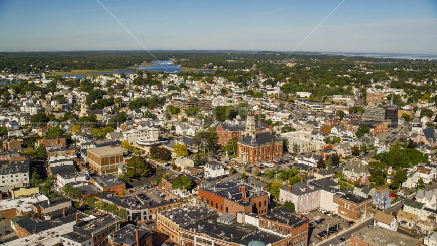 City hall in the middle of the town of Gloucester, Massachusetts Aerial Stock Photos | AX147_104.0000079