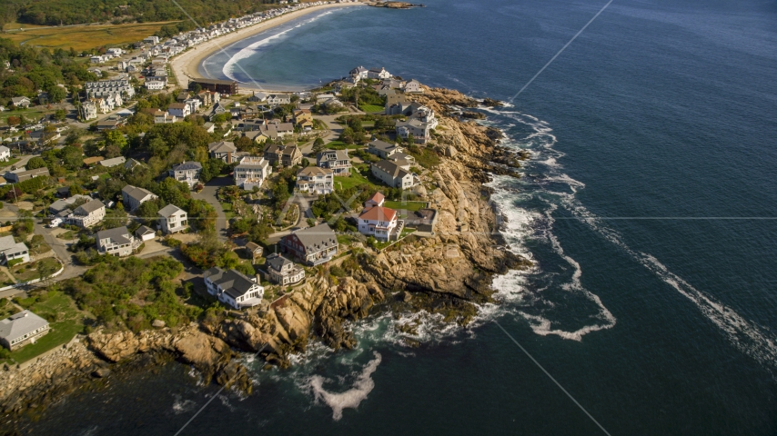 Oceanfront homes on the edge of cliffs, Gloucester, Massachusetts Aerial Stock Photos | AX147_108.0000308