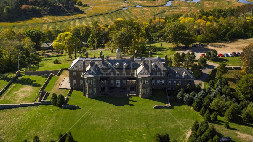 The Great House at Crane Estate on Castle Hill, autumn, Ipswich, Massachusetts Aerial Stock Photos | AX147_140.0000290