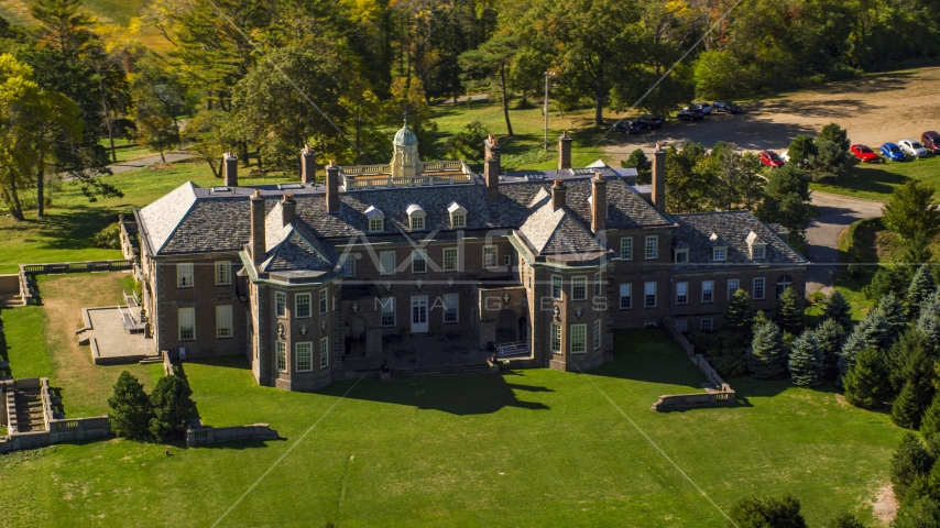 Close-up view of The Great House at Crane Estate in autumn, Ipswich, Massachusetts Aerial Stock Photo AX147_143.0000265 | Axiom Images