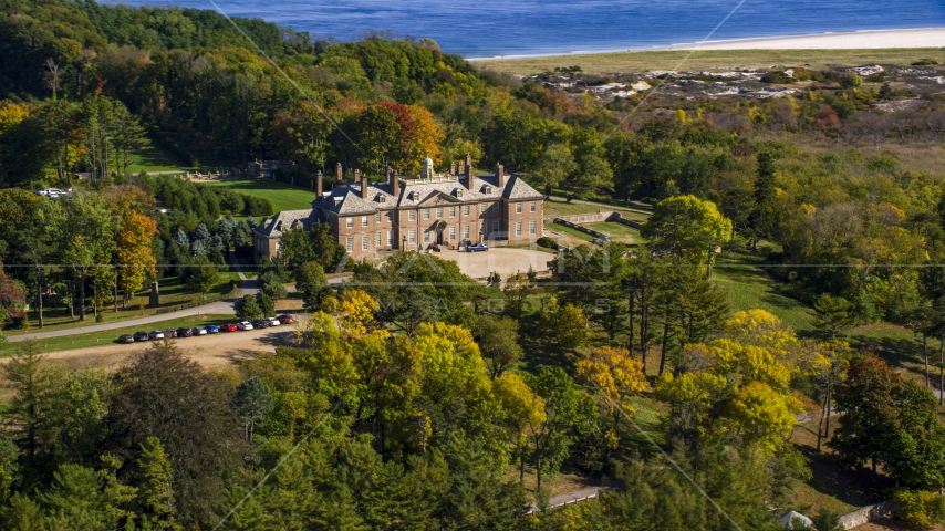 The Great House at Crane Estate atop Castle Hill in autumn, Ipswich, Massachusetts Aerial Stock Photos | AX147_146.0000229