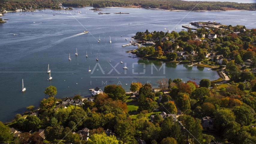 Coastal homes near sailboats in autumn, New Castle, New Hampshire Aerial Stock Photos | AX147_189.0000357