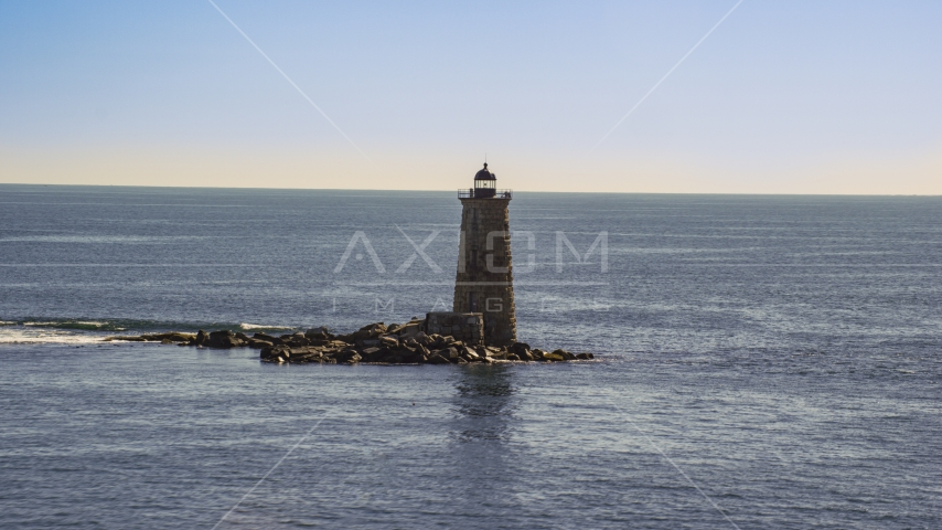 A lighthouse with the ocean in the background, Kittery, Maine Aerial Stock Photos | AX147_194.0000204