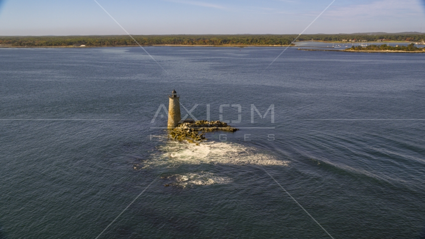 Lighthouse and rocks in the water, Kittery, Maine Aerial Stock Photos | AX147_196.0000233