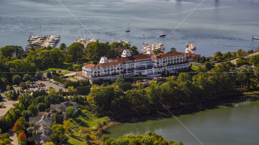 Wentworth by the Sea hotel in autumn, New Castle, New Hampshire Aerial Stock Photos | AX147_200.0000161