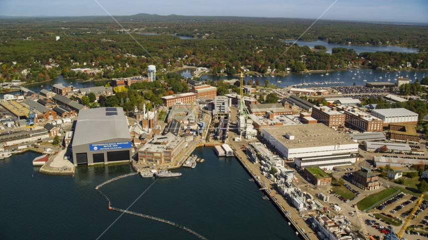 The Portsmouth Naval Shipyard in autumn, Kittery, Maine Aerial Stock Photos | AX147_224.0000000