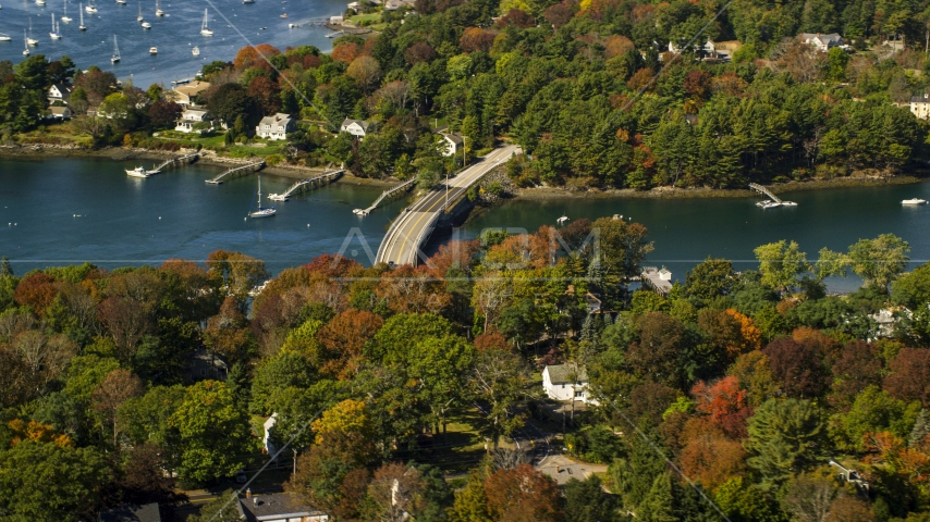 A small bridge and colorful autumn trees, Kittery, Maine Aerial Stock Photos | AX147_226.0000150