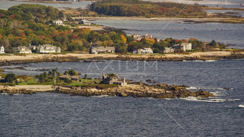 The Bush Compound and rocky coast, autumn, Kennebunkport, Maine Aerial Stock Photos | AX147_255.0000051