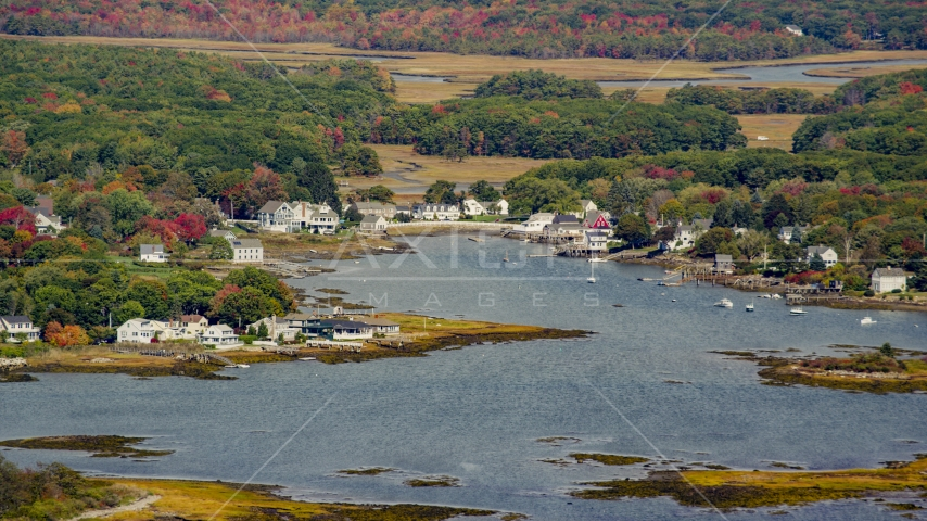 Waterfront homes around a small cove in autumn, Kennebunkport, Maine Aerial Stock Photo AX147_259.0000000 | Axiom Images