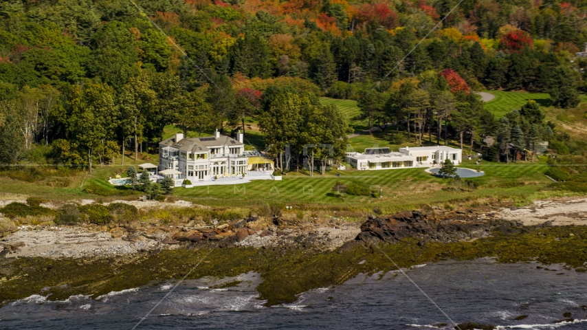 Oceanfront mansions, colorful autumn trees, Cape Elizabeth, Maine Aerial Stock Photos | AX147_301.0000077