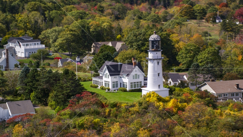 Cape Elizabeth Light in a coastal town in autumn, Cape Elizabeth, Maine Aerial Stock Photos | AX147_306.0000000