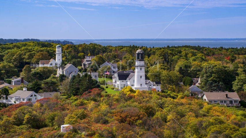 Cape Elizabeth Light in a coastal town in autumn, Cape Elizabeth, Maine Aerial Stock Photo AX147_306.0000113 | Axiom Images